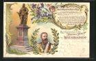 Lithographie Wiesbaden, Enthüllung des Denkmals für Friedrich Wilhelm III. von Preussen