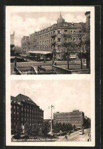 AK Gleiwitz, Wilhelmstrasse Ecke Wilde Klodnitz, Wilhelmstrasse mit Haus Oberschlesien