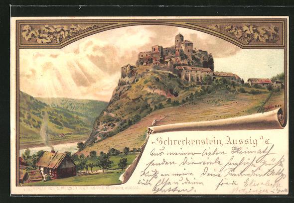 Künstler-AK Erwin Spindler: Aussig / Usti, Blick zur Burg