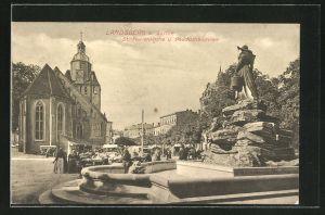 AK Landsberg / Gorzow Wlkp, St. Marienkirche und Pauckschbrunnen