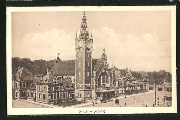 AK Danzig / Gdansk, Partie am Bahnhof