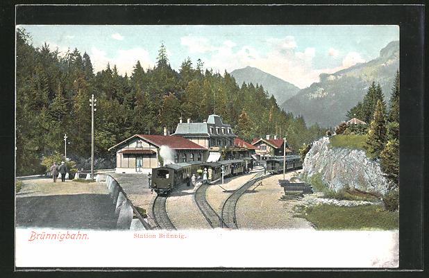 AK Brünnig, Am Bahnhof mit der Brünnigbahn