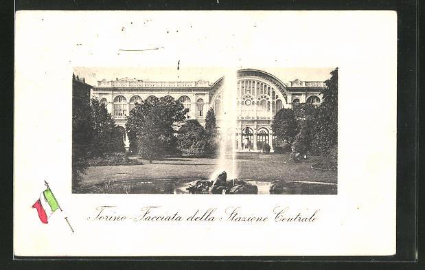 AK Torino, Facciata della Stazione Centrale, Bahnhof