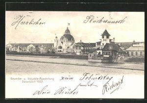 AK Düsseldorf, Industrie- & Gewerbe-Ausstellung 1902, Ausstellungsgelände vom Ufer aus