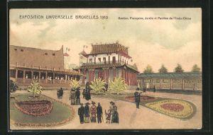 AK Bruxelles, Exposition Universelle 1910, Section Francaise, Jardin et Pavillon de l'Indo-Chine