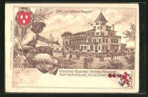 Lithographie Düsseldorf, Industrie-, Gewerbe- und Deutsch-Nationale Kunst-Ausstellung 1902, Cafe zur schönen Aussicht