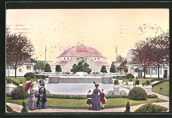 Künstler-AK München, Ausstellung 1910, Blick auf die Reitbahn