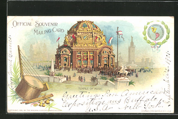 Lithographie Buffalo, NY, Pan-American Exposition 1901, Temple of ...