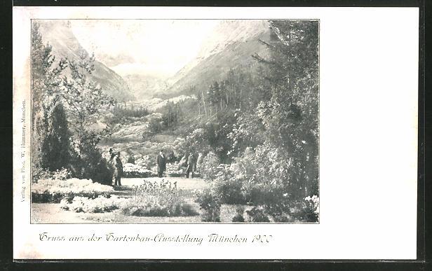 AK München, Gartenbau-Ausstellung 1900, Gärtner bei der Arbeit
