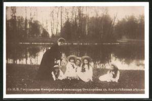AK Alexandra von Russland mit ihren Töchtern