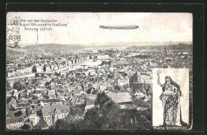 AK Lüttich, die von der Deutschen am 8. Aug. 1914 eroberte Stadt und Festung, Luftschiff