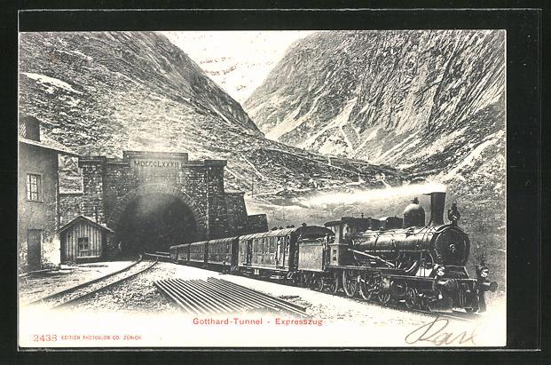 AK Gotthard-Tunnel - Expresszug, schweizer Eisenbahn