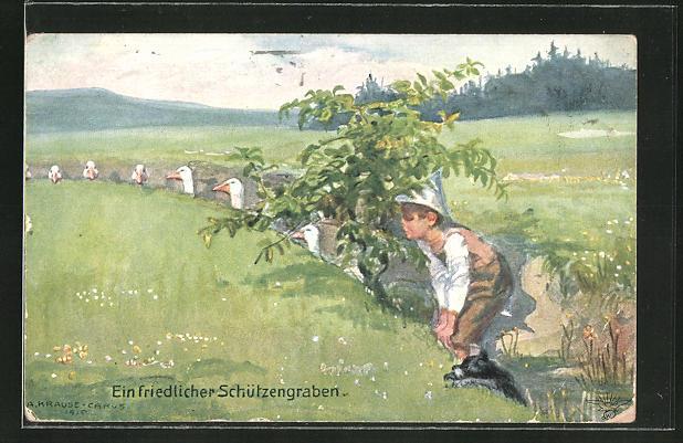Künstler-AK Carus: Ein friedlicher Schützengraben, Scherz, Knabe mit Hunbd und Gänsen