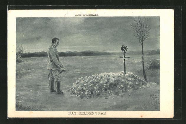 Künstler-AK Willi Scheuermann: Das Heldengrab