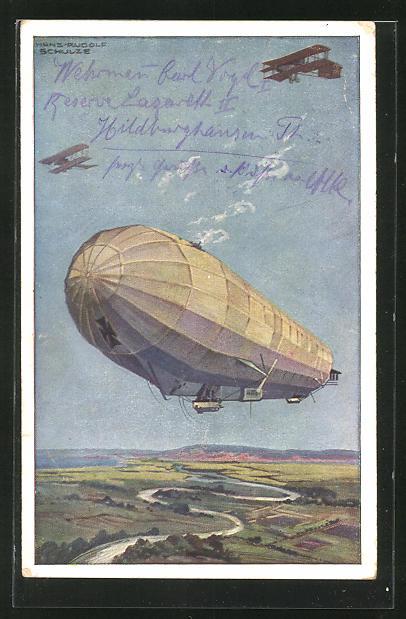 Künstler-AK Hans Rudolf Schulze: Militärluftkreuzer Hansa im Kampf mit feindlichen Fliegern, Luftschiff, Zeppelin