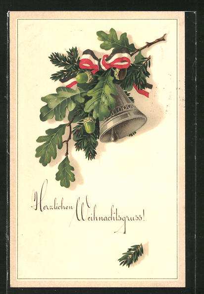 AK Herzlichen Weihnachtsgruss, Glocke mit patriotischer Schleife und Eichenlaub