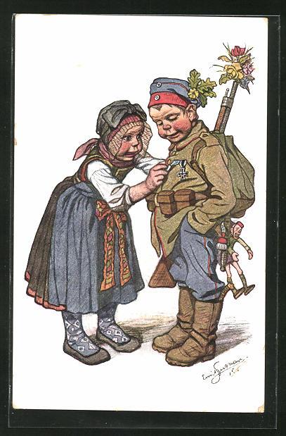 Künstler-AK Emil Beithan: Bayern-Trachten, Maid und kleiner Soldat