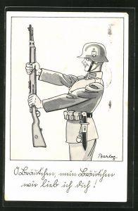 Künstler-AK Ferdinand Barlog: O Bräutchen, mein Bräutchen..., Soldatenhumor