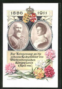 Künstler-AK P. Schnorr: Silberne Hochzeit des Württemb. Königspaares 1911