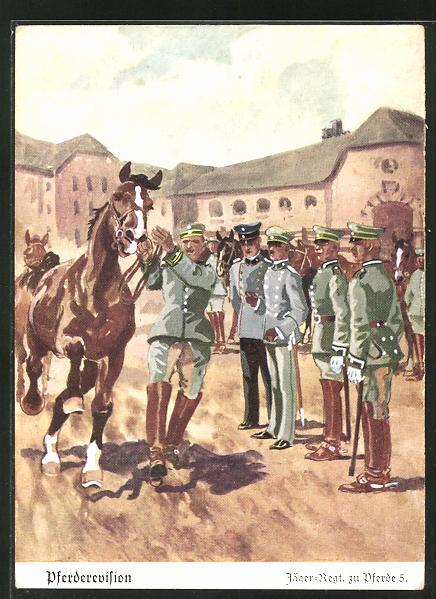 Künstler-AK Döbrich-Steglitz: Pferderevision, Jäger-Regt. zu Pferde 5