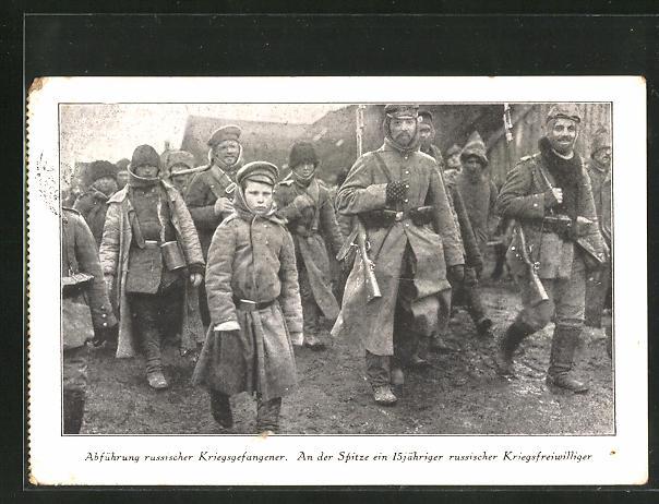 AK Abführung russ. Kriegsgefangene, an der Spitze ein 15 jähr. russ. Freiwilliger