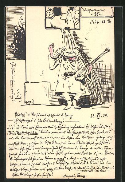 Künstler-AK Handgemalt: jähes Ende eines nächtlichen Ständchens, sign. August Needer