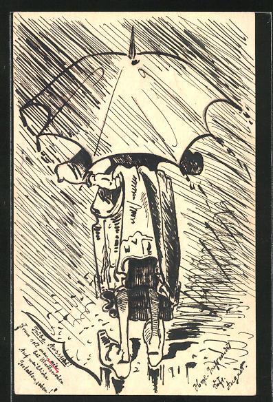 Künstler-AK Handgemalt: trübe Aussichten, Mädchen in strömendem Regen versteckt sich unter einem Regenschirm