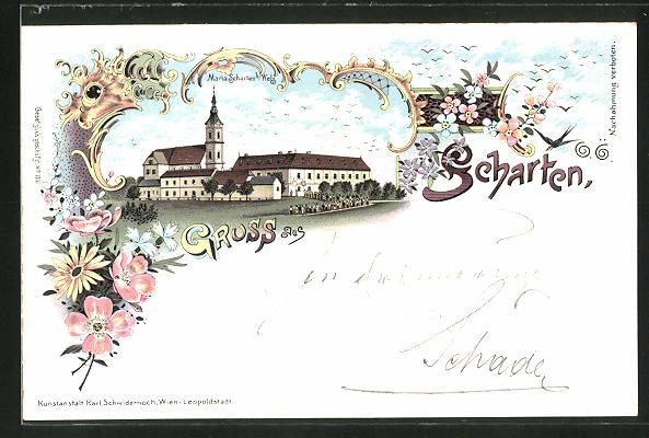 Lithographie Scharten, Prozession bei Maria Scharten