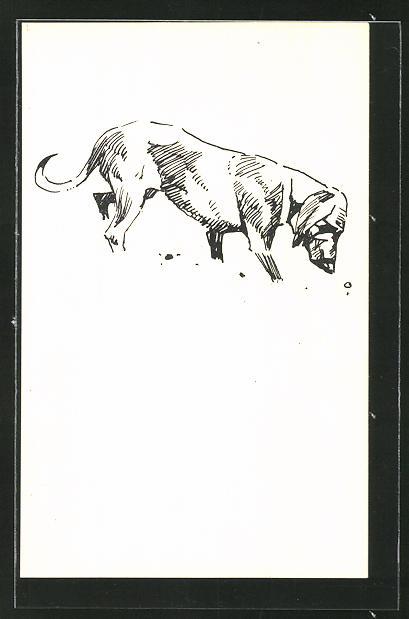 Künstler-AK Ludwig Hohlwein unsigniert: Jagdhund auf der Fährte eines Wildes