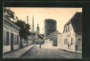 AK Burg, Blick in die Berliner Strasse