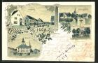 Lithographie Cölleda, Marktplatz, Johanniskirche, Kriegerdenkmal, Rathaus