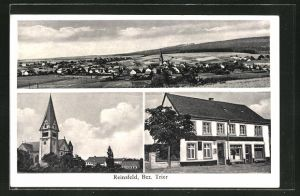 AK Reinsfeld, Gasthaus zum Bahnhof von Jakob Kuhl, Kirche, Ortsansicht