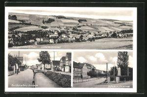AK Harpersdorf / THür., Dorfstrasse & Erlbach, Schule m. Ehrenmal, Unterer Ortsteil