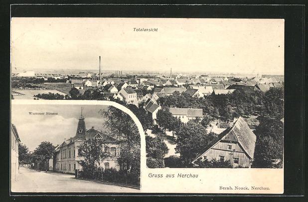 AK Nerchau, Wurzener Strasse, Totalansicht über die Dächer
