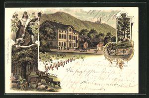 Lithographie Dingelstedt, Gasthaus Gambrinus im Huy., Danneilshöhle, Waldpartien