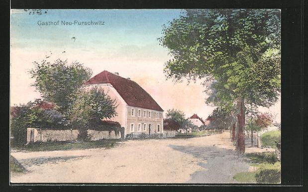AK Purschwitz, Gasthof Neu.Purschwitz mit Strassenpartie