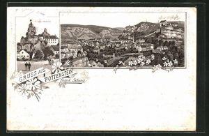 Vorläufer-Lithographie Pottenstein / Fränk. Schweiz, 1895, Tüchersfeld, Panoramablick auf den Ort