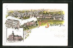 Lithographie Stollberg Erzgeb., Ortsansicht aus der Vogelschau, Realschule, Schloss Hoheneck und Rathaus