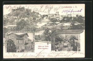 AK Lindenfels i. O., Ortspartie mit Kirche, Hotel zur Harfe