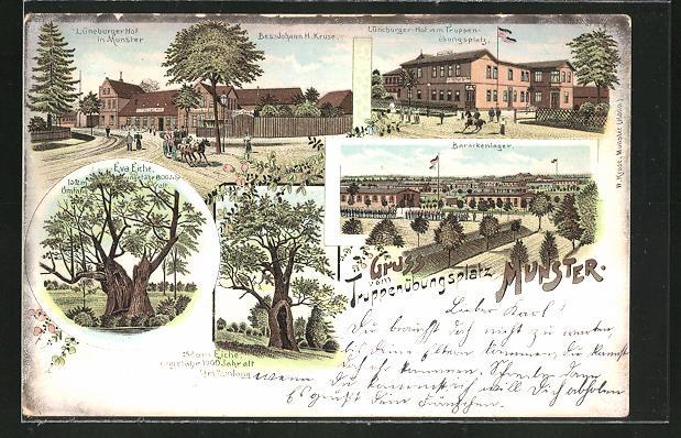 Lithographie Munster / Truppenübungsplatz, Gasthaus Lüneburger Hof, Barackenlager, Adam-Eiche und Eva-Eiche