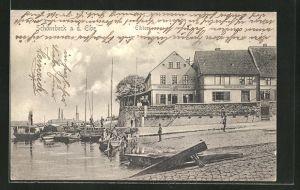 AK Schönebeck a. Elbe, Gasthaus zum goldenen Anker an der Elbe