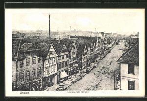 AK Uelzen, Lüneburger Strasse aus der Vogelschau