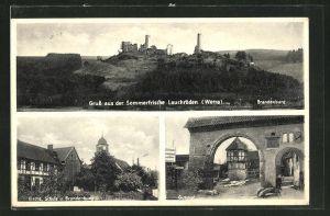 AK Lauchröden / Werra, Kirche und Schule, Gutshof, Brandenburg