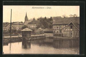 AK Hummelshain i. Thür., Teichpartie mit Blick zur Kirche