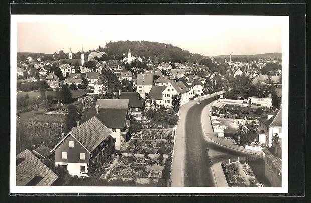 AK Leutkirch / Allgäu, Gesamtansicht mit Wangenerstrasse aus der Vogelschau