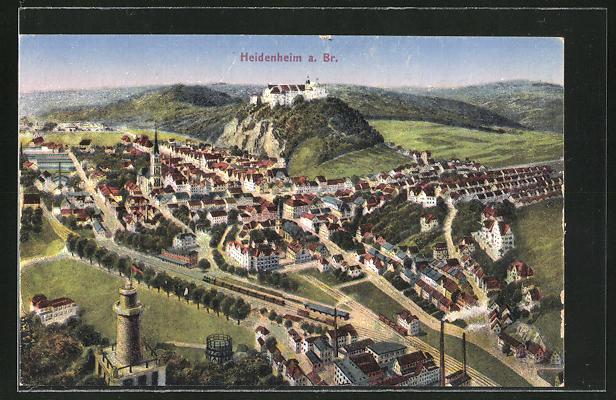 AK Heidenheim a. Br., Panoramablick auf die Stadt