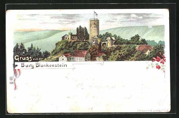 Lithographie Hattingen-Blankenstein, Blick auf die Burg Blankenstein