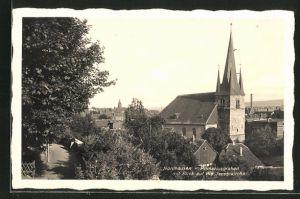 Foto-AK Nordhausen, Primariusgraben mit Blick auf die Jacobikirche
