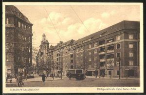 AK Berlin-Wilmersdorf, Strassenbahn an der Ecke Hildegard-Strasse und Kaiser-Allee