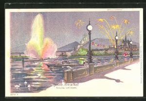 AK Geneve, Fete de Nuit, Fontaines Lumineuses